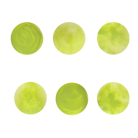 Round green spots. The texture of acrylic. Blurred ink spots. Vector.