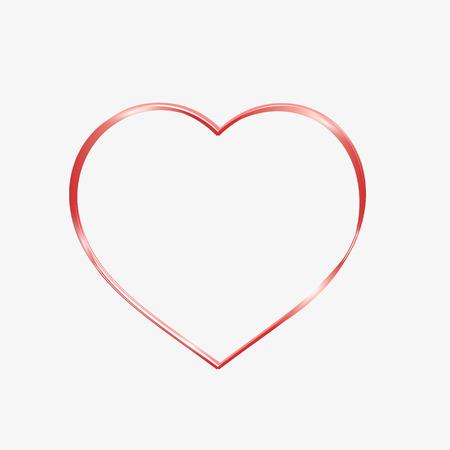 heart outline: Red heart sparkly. Glittering heart outline, tape Illustration