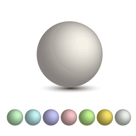 pastel shades: Vector set of 3D balls , a palette of pastel shades. Round 3D sphere.
