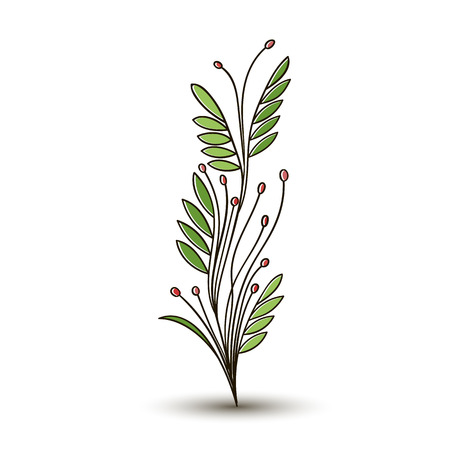 Decorative flowers silhouette. A tuft of grass with buds