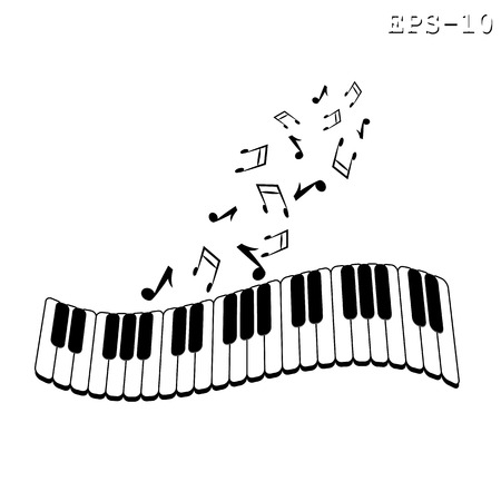 Musical keyboard and note. Black and white vector illustration Çizim