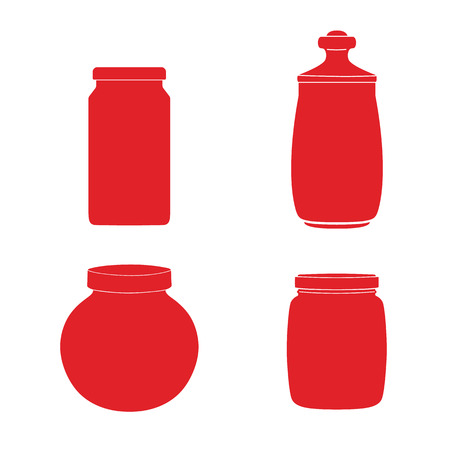 Set of jars template. Vector illustration. Silhouettes of glass jars.