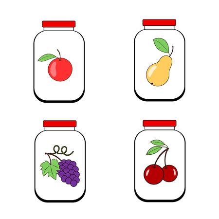 Bocaux de confiture de jus ou de confiture. Banques avec des fruits sur un fond transparent. Vecteur Banque d'images - 72343380