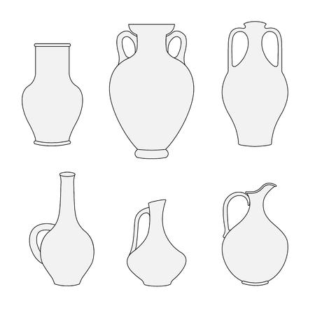 pitcher outline decanter greek amphoravector illustration stock vector