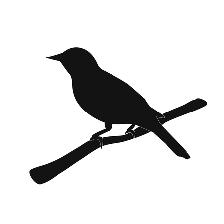 Silhouette of the bird on branch. Vector