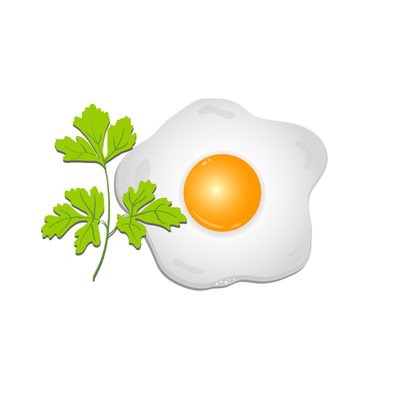 fried: Fried egg with a sprig of parsley on a transparent background. Vector illustration