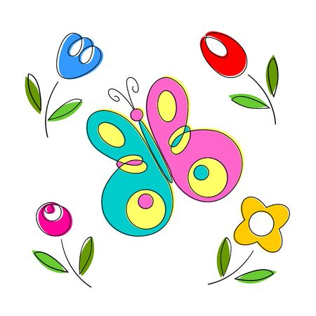butterfly background: Springtime flowers and butterflies, vector illustration