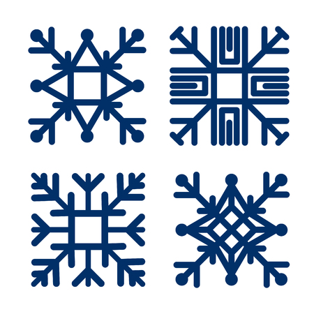 Set square snowflake. Flat icon Vector illustration.