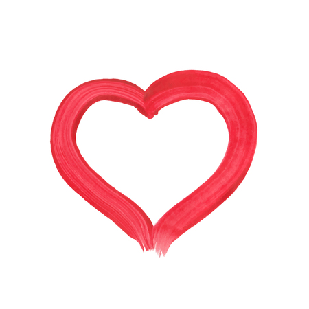 Hand-drawn painted red heart, vector element for your design. Watercolor, gouache, acrylic Illustration