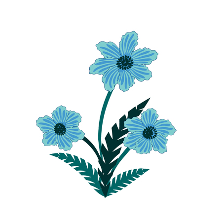 Illustration of wild blue flowers bouquet. Illustration