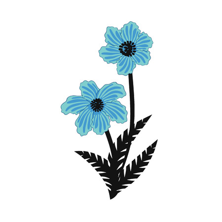 Illustratie van wild blauw bloemenboeket.