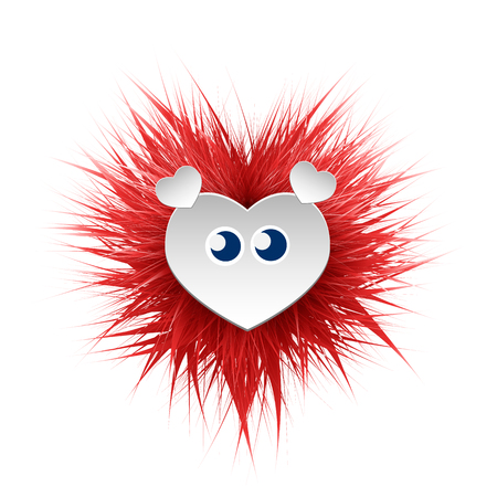 Shaggy bright fluffy monster, with eyes and ears. Can be used as a frame for the text of congratulations on Valentines Day. Vector