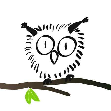 Charming owl, hand drawing, vector illustration. Illustration