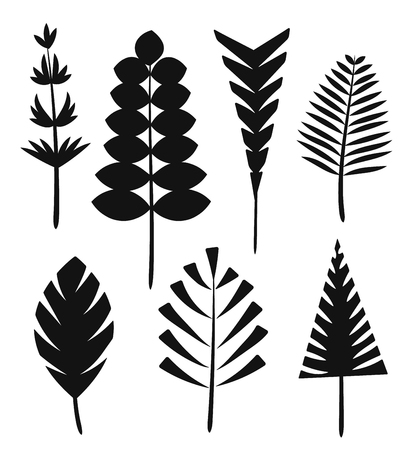 The silhouette leaves of the trees and grass. Illustration