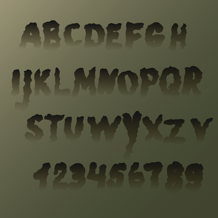 Set terrible trembling letters ,transparent at the bottom. The alphabet and numbers, suitable for Halloween