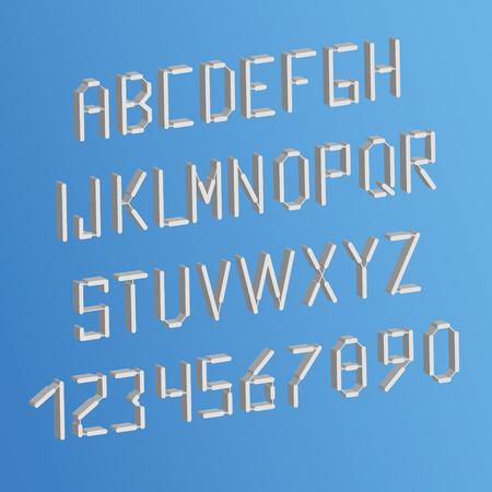 3d letters and numbers on sky background. White alphabet English, French, Portuguese.