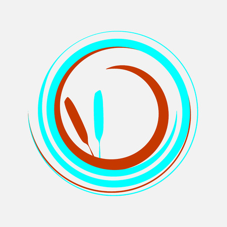 Two circular spirals connected together. Vector logo symbol. Illustration