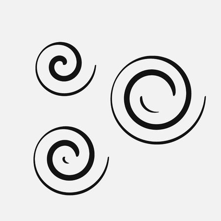 Three circular spirals of different sizes. Vector logo symbol. Illustration