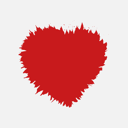 Red Vector Love Heart. Sloppy heart silhouette, uneven outline
