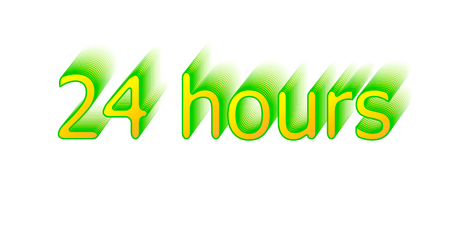 24 hours typography with shadow effect on white background.