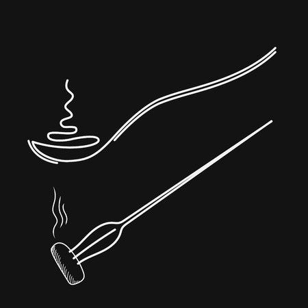 Spoon with hot food, drawing one line. Fork with a piece of hot food.