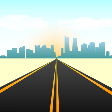 Empty straight road in the city on the horizon. Silhouette of the city against the sky. Ilustração