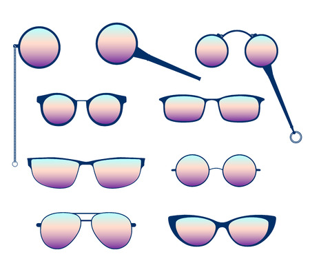 Glasses silhouette vector set. Frames to modern sunglasses with different styles as well as vintage eyeglasses - lorgnette, monocle and a magnifying glass. Illustration
