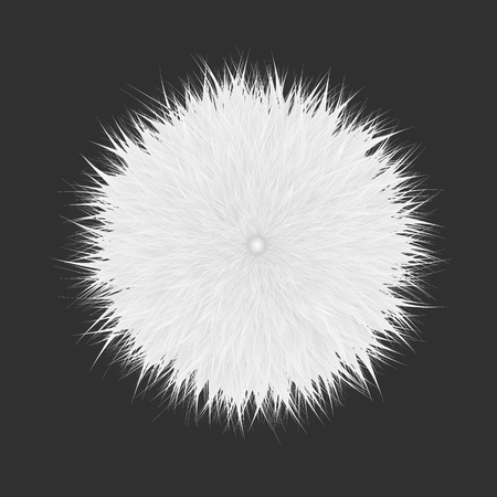 White fluffy shaggy ball. vector Illustration