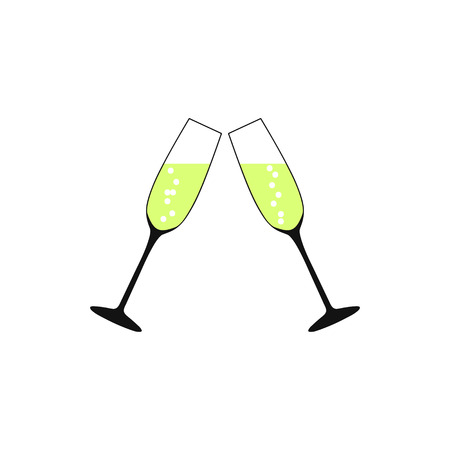 Pair of champagne glasses, set of sketch style vector illustration isolated on white background. Illustration