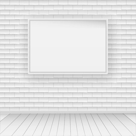 White brick wall with white wooden floor. On the wall hangs an empty white picture. Иллюстрация