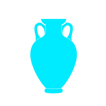 Decanter Greek amphora. Pitcher, vessel flat icon. Pitcher outline. Vector illustration Ilustrace