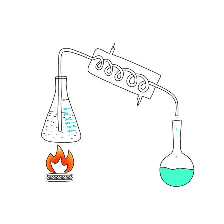 Laboratorio chimico, il principio di funzionamento del distillatore. Schizzo a matita.