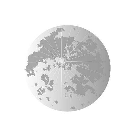 satellite of the Earth. Yellow, pink, blue, and grey Moon.The stars in the dark sky. Vector illustration