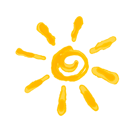 Drawn the sun, imitation of watercolor. Isolated on transparent background