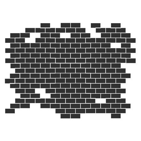 Background texture vector-brick wall broken on the edges.