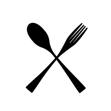 Fork Spoon Restaurant Icon. Fork and spoon silhouette  イラスト・ベクター素材
