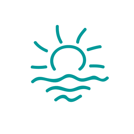 Sun and sea logo. Sketch rising sun with rays and sea waves icon