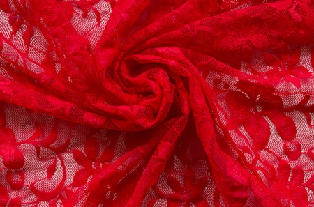 Red lace background. Close up. 스톡 콘텐츠 - 103437906