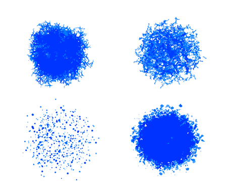 Vector set of blue round textures. Ragged texture, crumbs and strokes. Shaggy torn vector circle silhouette