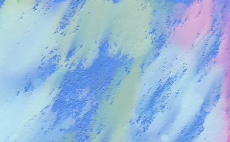 Blue, purple, pink and yellow paint stains on the canvas. Brushstrokes of watercolor on the diagonal. Non-uniform rough texture. Soft pastel colors