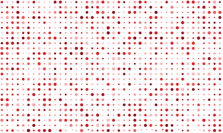 Vector seamless background of many colored circles of random size and random shade. Shades of red Illustration