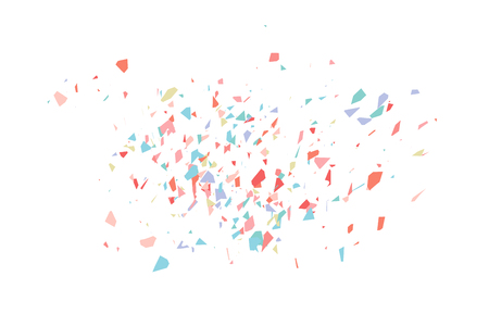 The explosion of multi-colored fragments. Vector colorful pieces of shards of confetti. 일러스트