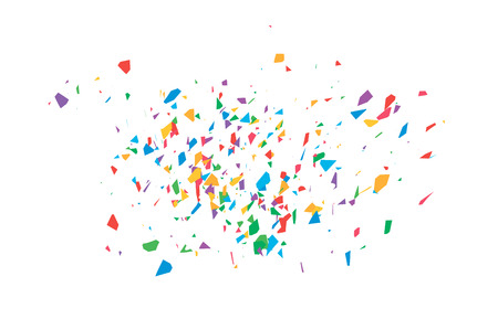 The explosion of multi-colored fragments. Vector colorful pieces of shards of confetti. Ilustração