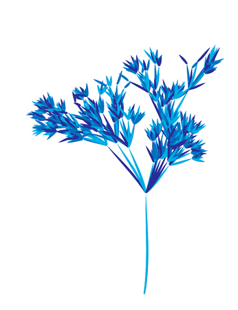 Reed stems , sugar cane or bamboo leaves, thin narrow leaves. Different shades of blue. Isolated on white background Illustration