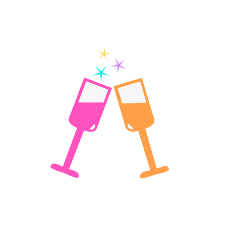 Vector champagne glasses icon flat style .Holiday drink Illustration
