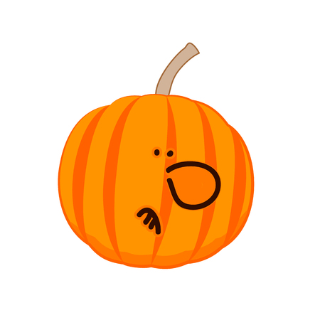 A little disgruntled pumpkin. Vector illustration
