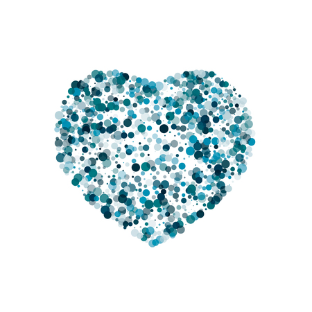 Heart of many bubbles of several shades of the color of the sea wave, translucent balls. Illustration