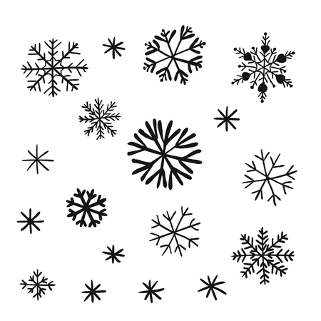 Snowflake set. Snow on a transparent background. Childrens hand drawing style, handmade
