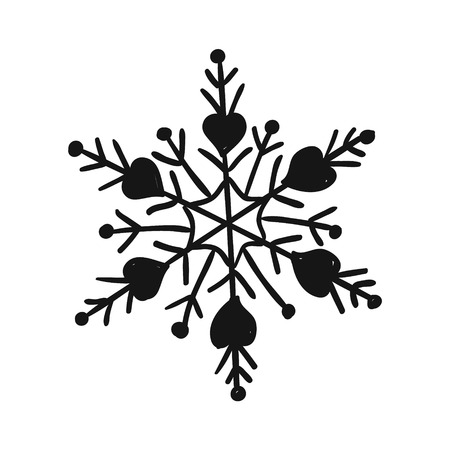 Painted cute snowflake silhouette. Symbol of winter and cold. Snow on a transparent background. Childrens hand drawing style, handmade