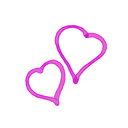 Vector Heart shape frame with brush painting isolated on white background. Two painted hearts